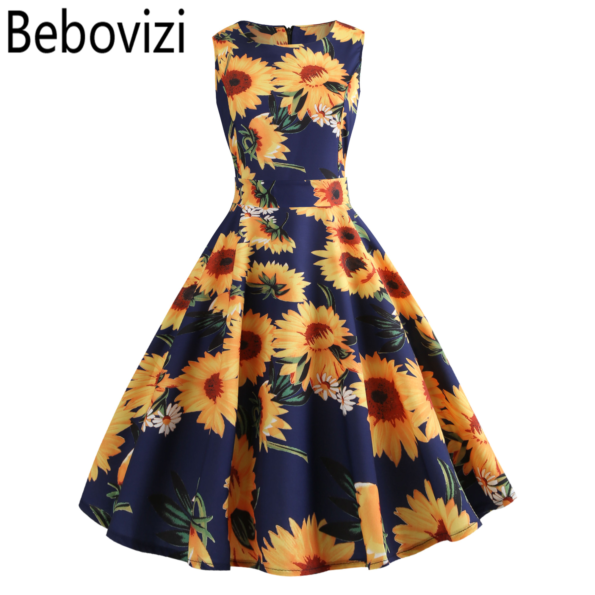 US $9.9 30% OFF Fashion Sunflower Plus Size Vintage Dress Robe Femme Floral  Print Casual Elegant Summer Clothes Women O neck Party Midi Dresses-in ...