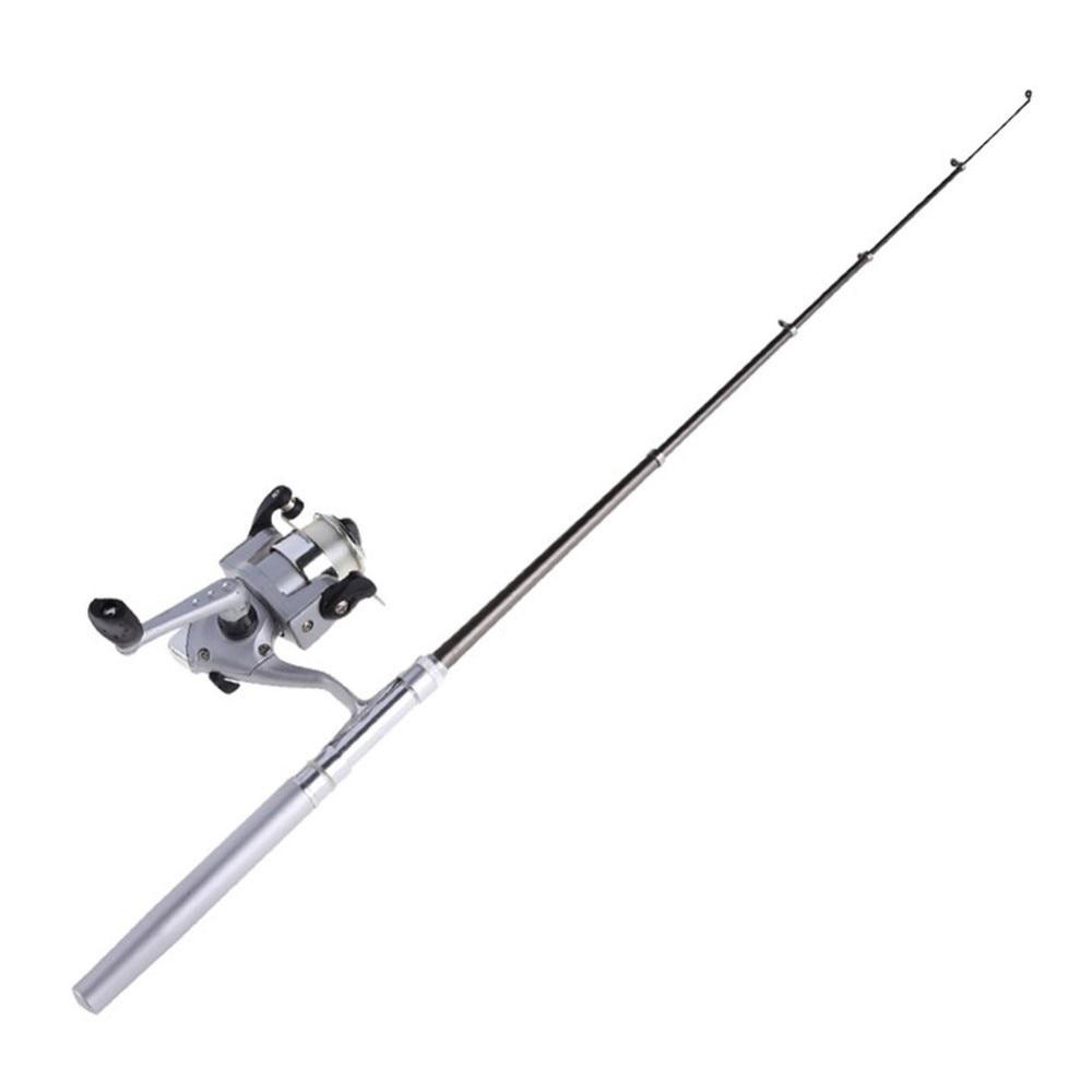 Мини Алюминий сплава Карманный Pen Удочка рыболовная катушка+ линии с серебряным Портативный песка отпуску