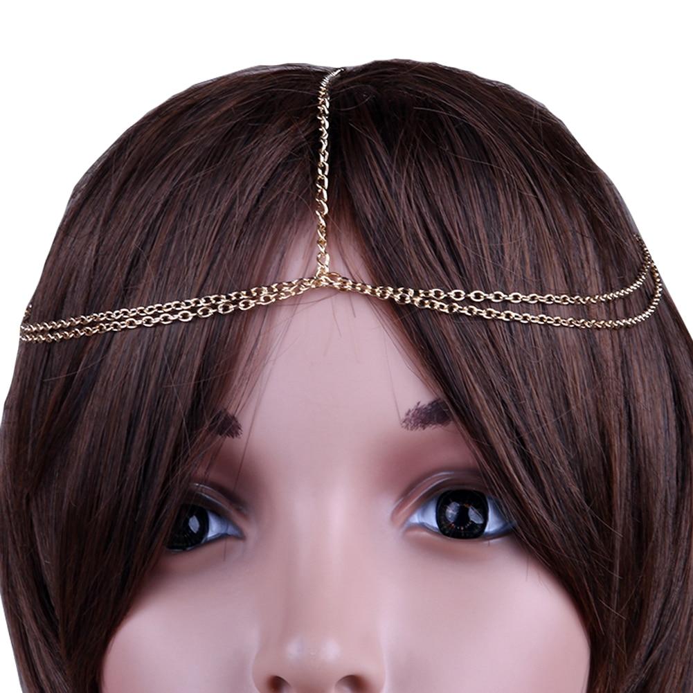 Trendy bridal headpiece - Women Headbands Indian Boho Trendy Bride Hair Hair Jewelry Decoration Metal Head Piece Wedding Head Chain Hair Jewelry T004