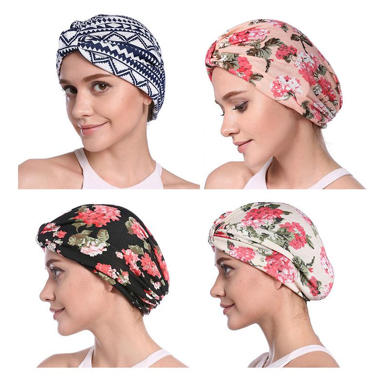 Women Hat Beanie Turban Muslim Caps Hair Cover Beanies Head Wrap Chemo Cap Ladies Keep Ear Warm Printing