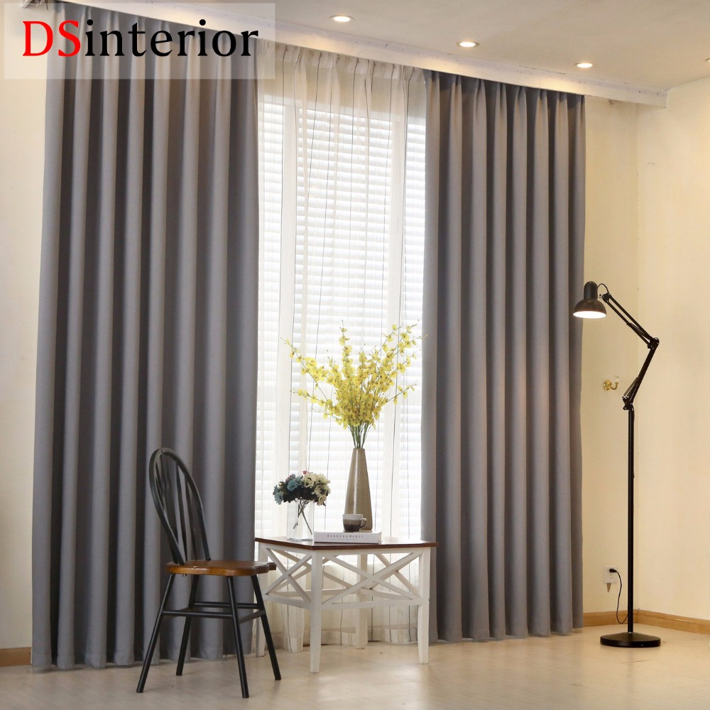 DSinterior 60%-70% shading modern solid plain color faux linen Blackout curtain for living room window custom made