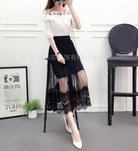 Spring and summer new style Korean lace skirt Mid-length Pleated elastic waist slim