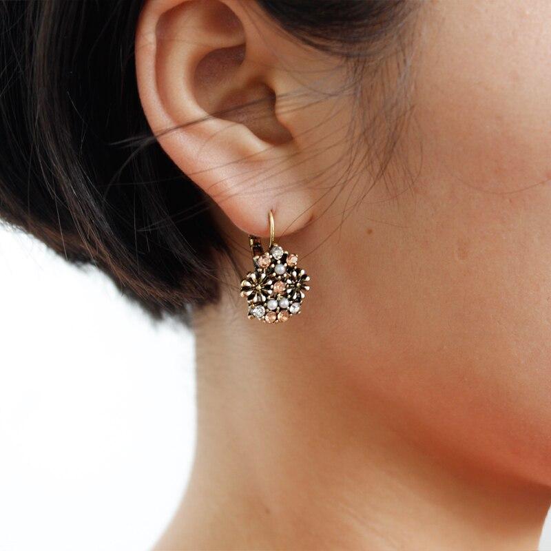 Vintage Blume Bunte Ohrringe Mode Geometrie Elegante Ohrringe Frauen