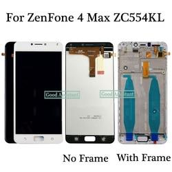 100% Teste de Preto/Branco 5.5 polegada Para Asus ZenFone 4 Max ZC554KL X00IS X00ID Display LCD de Toque Digitador Da Tela assembléia Com Frame