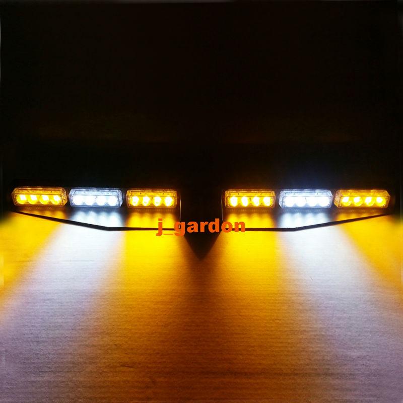 2 x 12 LED 3W Car Truck Emergency Beacon Light Exclusive Split Visor Deck Dash Hazard Strobe Warning Amber/White/Amber LightBar