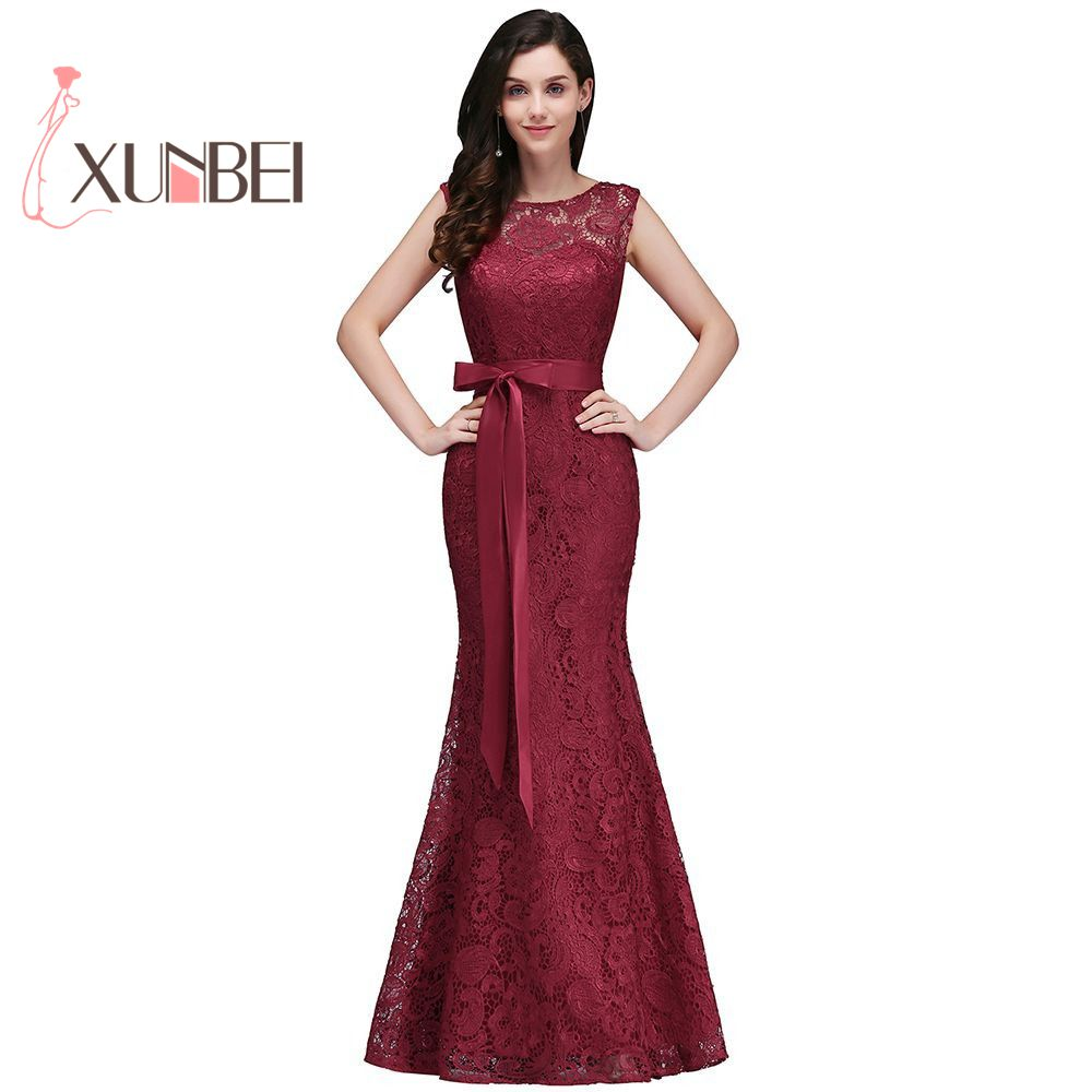 Mermaid Burgundy Lace   Bridesmaid     Dresses   2019 Sexy Back Prom   Dress   Party Gowns With Sash Robe de fille d'honneur