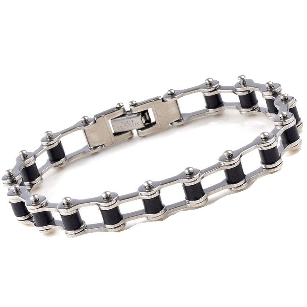 Silver Tone Biker Bracelet Men Motorcycle Link Chain Bike Bicycle Chain Bracelets Bangles Classic Stainless Steel Mens Bracelet