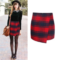 New Arrivals High Waist Red And Black Plaids Checks Mini Skirt Women Asymmetrical Wool Skirts Ladies