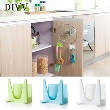 Kitchen Plastic Bracket Storage Rack Holder Scuker Sticker Pot Pan Cover Shell Cover hanger Rack Kitchen