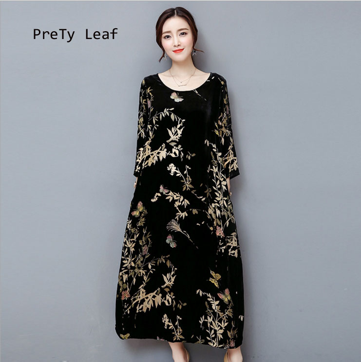 2018 autumn and winter black gold velvet dress
