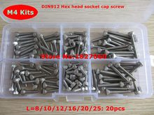 120pcs M4 Screw Kits DIN912 Allen Bolts Hex Socket Head Cap Screw Assortment Kit M4*8/10/12/16/20/25mm(China)