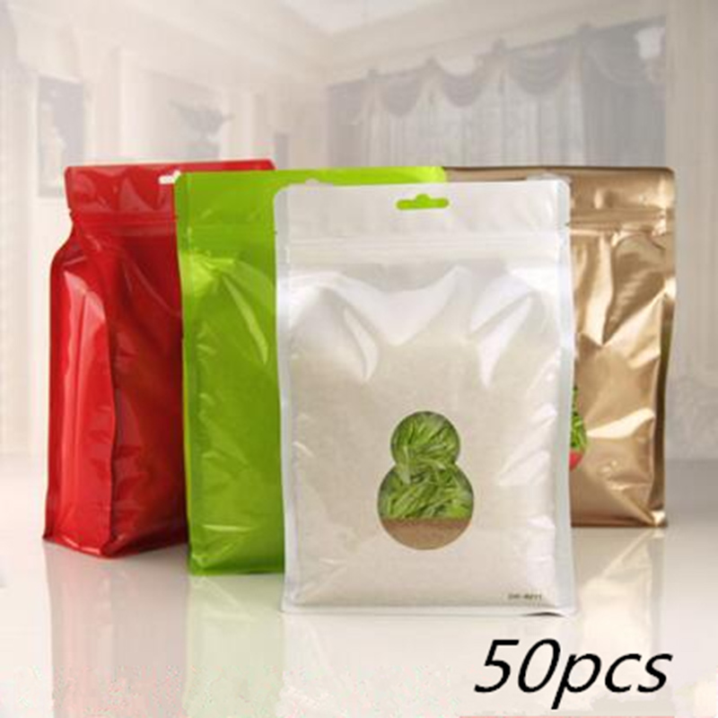 50pcs Stand Plastic Colorful Hermetic Bags Aluminum Plating Pouches Recloseable Zip-lock Food Tea Snacks Gifts Pack Storage Bags