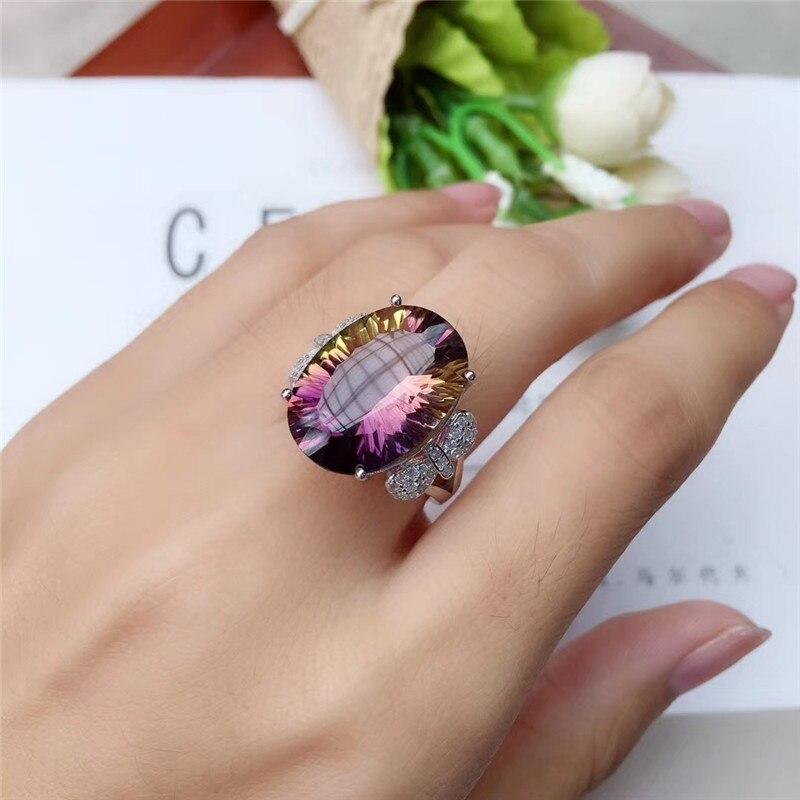 WEAINY 925 argent Sterling mode 12*16mm amétrine naturelle bague femmes bijoux Super belle améthyste bijoux - 2