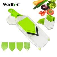 WALFOS 7 In 1 Plastic Vegetable Fruit Slicers Cutter Multi Function Adjustable Stainless Steel Blades ABS