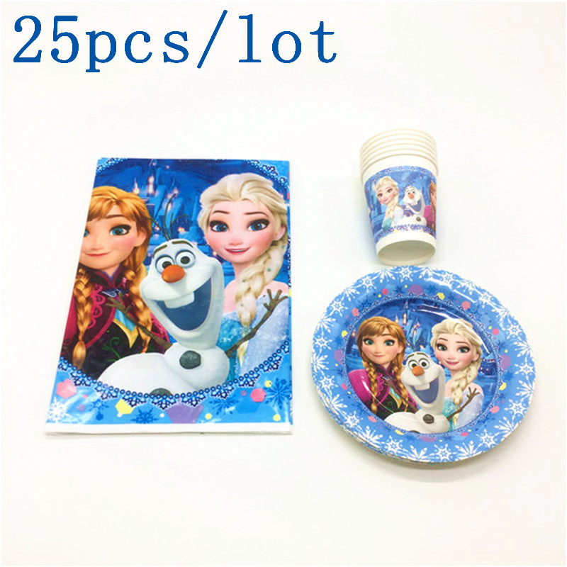 Festive & Party Supplies Disposable Party Tableware Disney Frozen Theme Disposable Paper 12cups+12plates+1tablecloth Kid Favors Birthday Baby Shower Decoration Set Supply 25pcs/lot