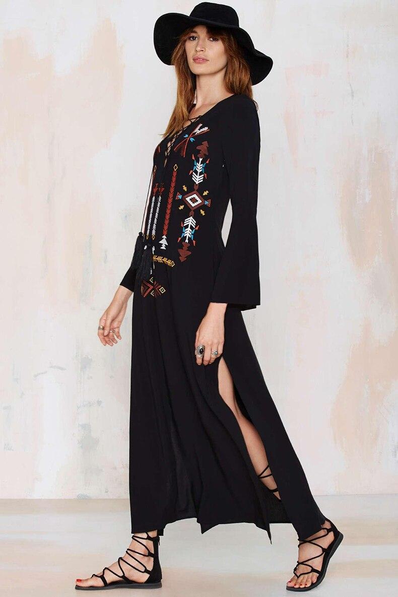 Fashion V neck Black Embroidery Vintage Flare Full sleeve Women Maxi ...