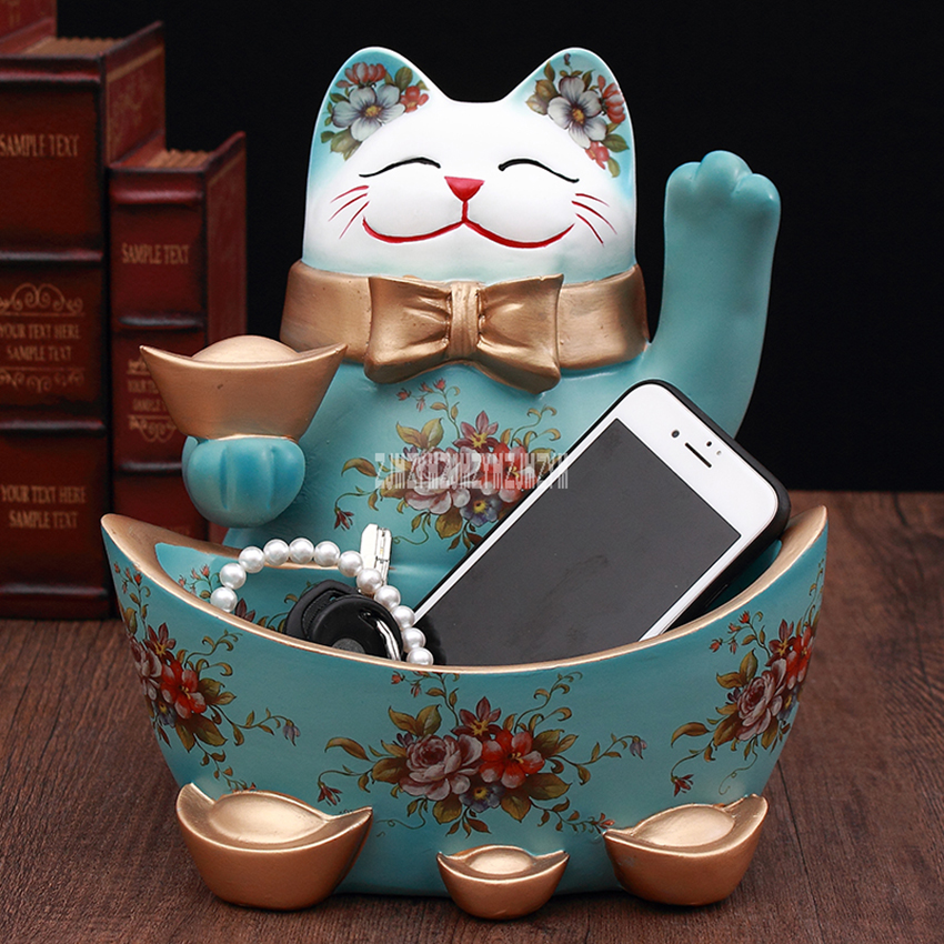 BUS06-06 Fortune Cat Good Home Decoration Lucky Cat Ornament Keys Receiving Tray Wealth Waving Cat Store Open For Business Gift