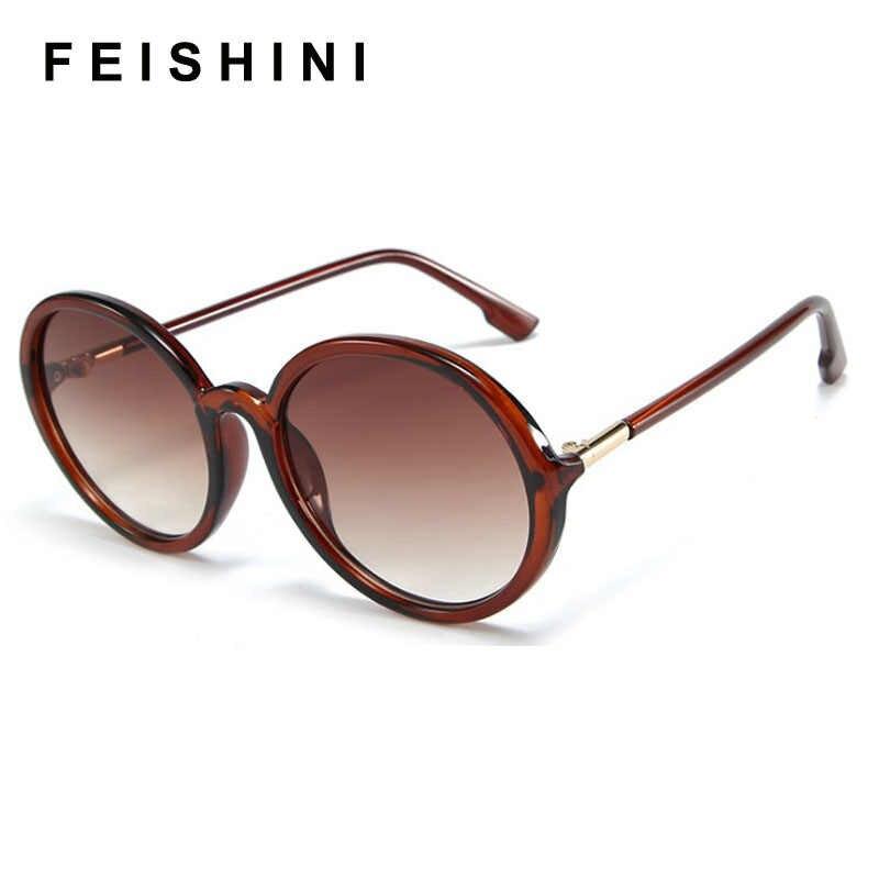 FEISHINI คุณภาพสูง Shop เคาน์เตอร์ VINTAGE แว่นตากันแดดผู้หญิงรอบยี่ห้อ Designer UV400 Gradient แว่นตากันแดดสุภาพสตรีแว่นตากันแดด