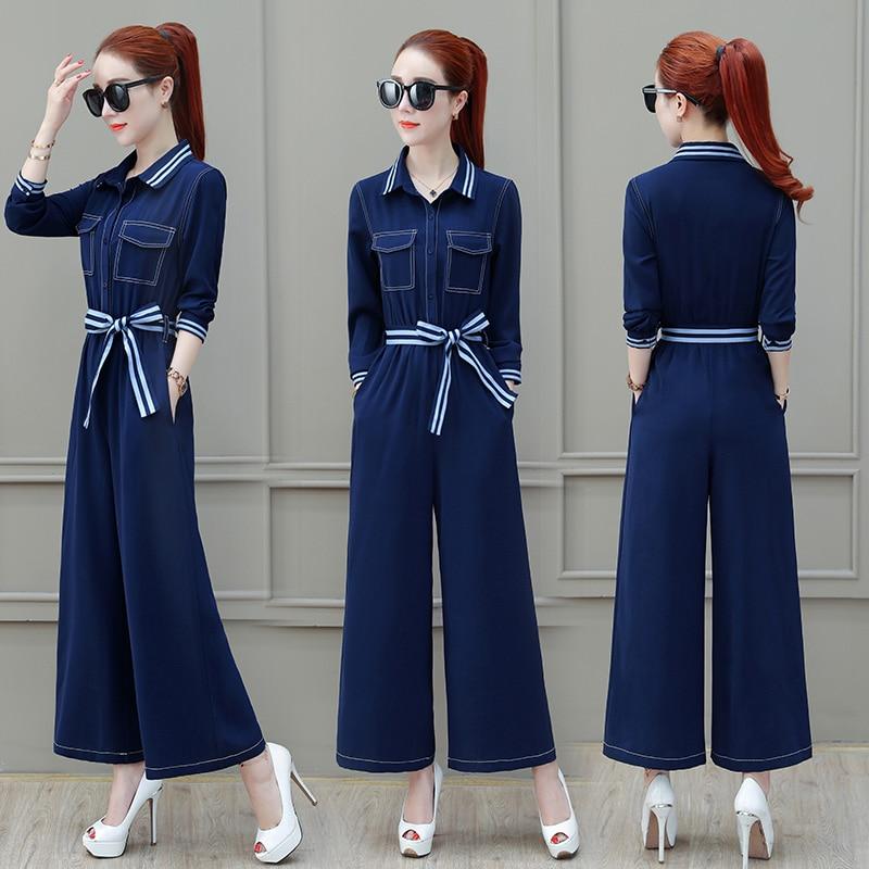 Fashion elegant chiffon blue Playsuits loose jumpsuits 2018 summer autumn plus size lace up rompers womens Khaki jumpsuit