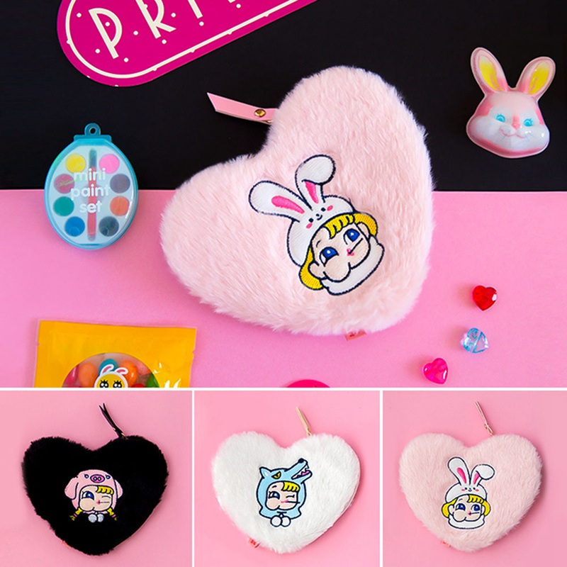 Mini Cute Heart Coin Purse Wallet For Women Credit Card Holder Case Girls Plush Change Money Bag Zipper Cosmetic Toiletry Bag