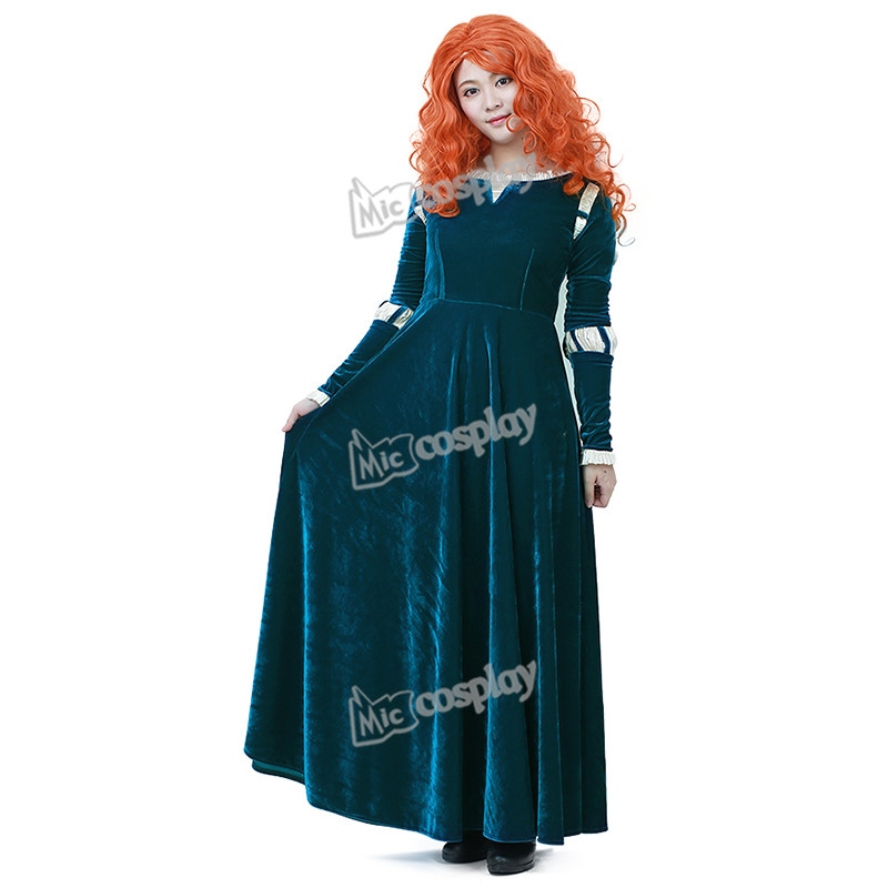 Anime Brave Merida Cosplay Costume Princess Women Female Adult Dress Halloween Party Long Outfit
