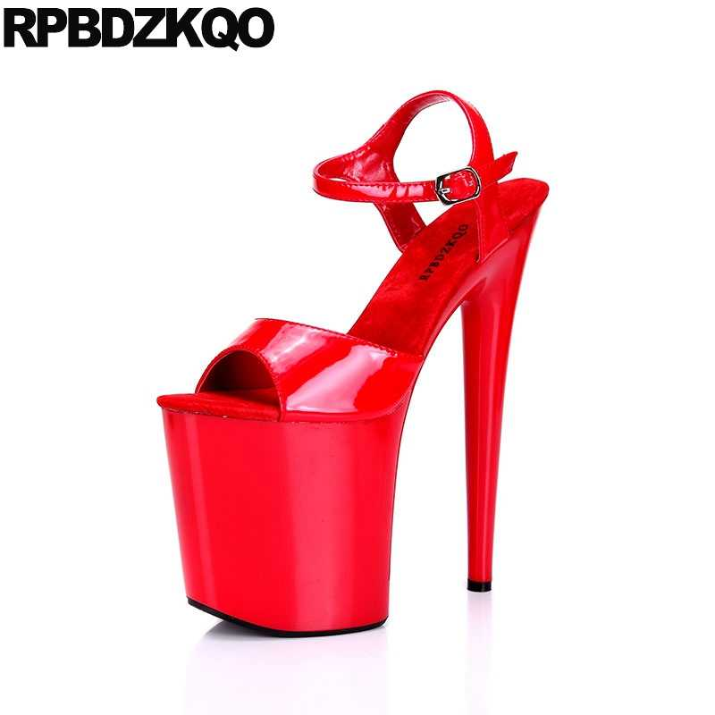2ce4856e37d Women Crossdressed Fetish Stripper Gothic Platform Peep Toe Two Strap  Sandals Stiletto Pumps Shoes High Heels Patent Leather Red