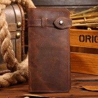 純粋なハンドメイドヴィンテージ狂気の馬革メンズ財布カジュアルロングデザインジッパー本革財布