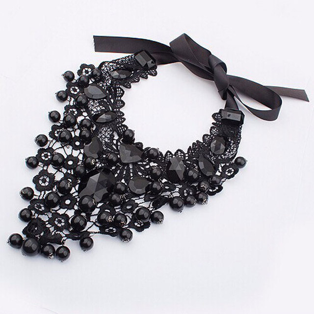 Gothic Black Lace Statement Necklace