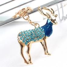 Zodiac Goat Bule Sheep Lovely Crystal Rhinestone Charm Pendant Purse Bag Car Key Ring Chain Creative Wedding Party Gift