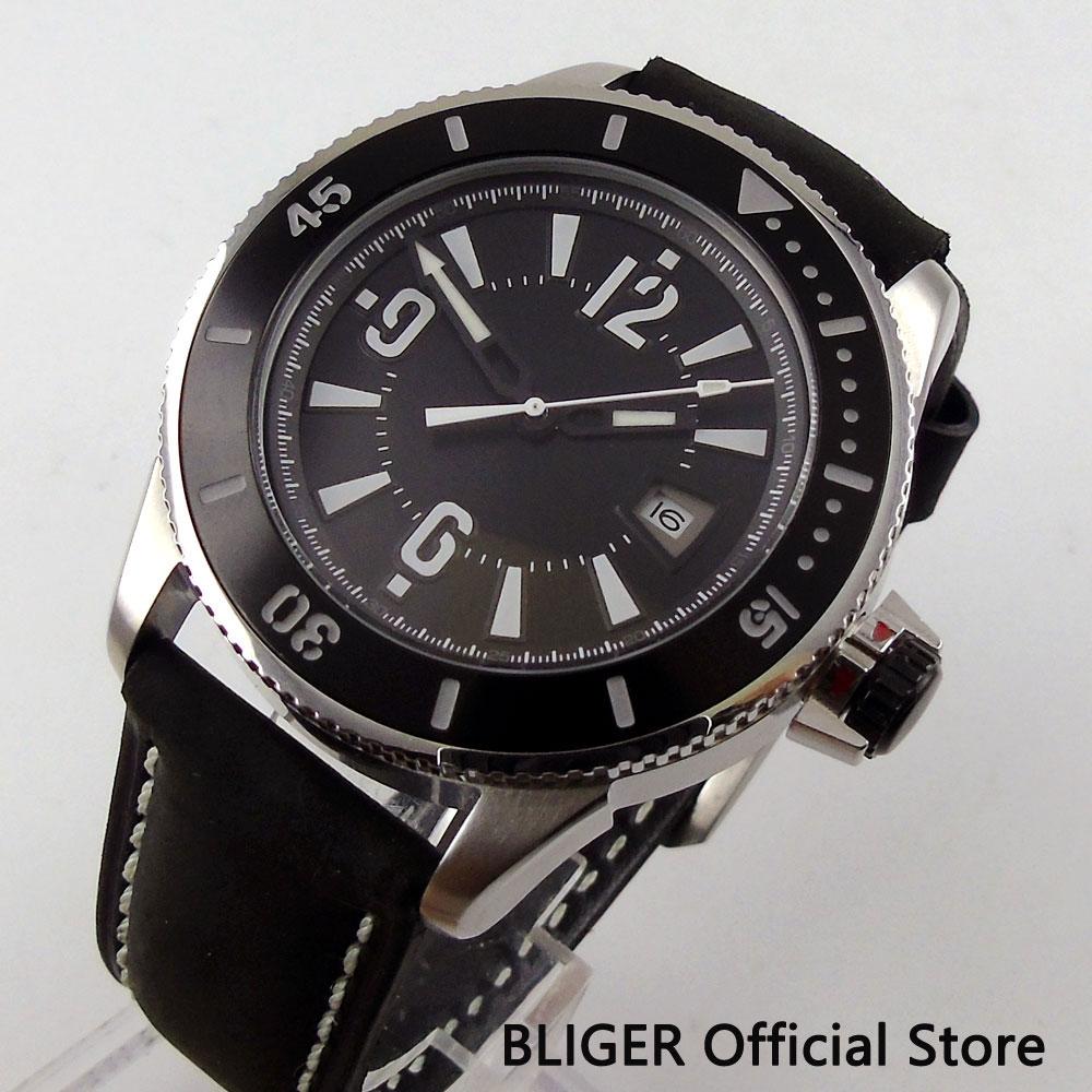 цена Casual BLIGER 43MM Black Sterile Dial Luminous Marks Date Window 21 Jewels MIYOTA Automatic Movement Men's Watch Pin Clasp BI1 онлайн в 2017 году
