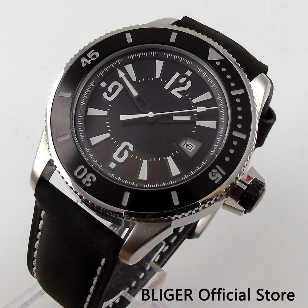 Casual BLIGER 43MM Black Sterile Dial Luminous Marks Date Window Automatic Movement Men's Watch Pin Clasp BI1