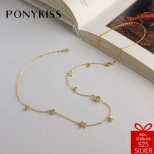 PONYKISS Trendy 100% 925 Sterling Silver Zircon Stars Choker Chain Necklace Women Party Fashion Accessories Fine Jewelry Gift