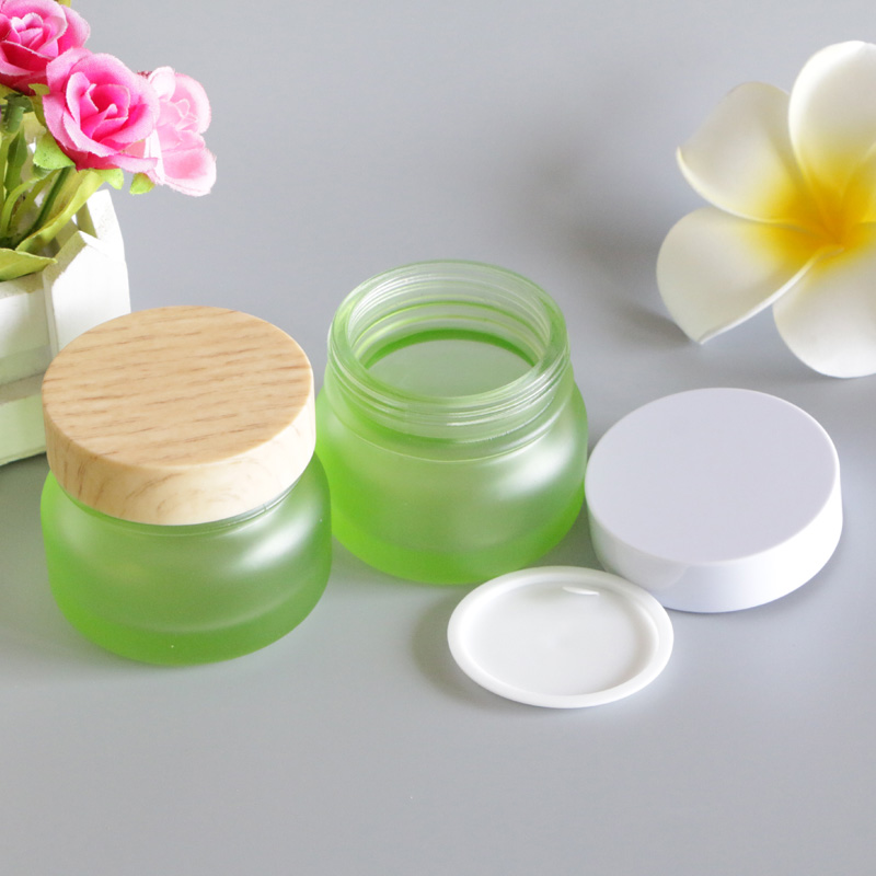 50G Frosted Bamboo Lid Cream Jar Eye Lip Balm Sunscreen Cream Feet Black Mask Travel Refillable Glass Bottle Packaging 6pcs/Lot