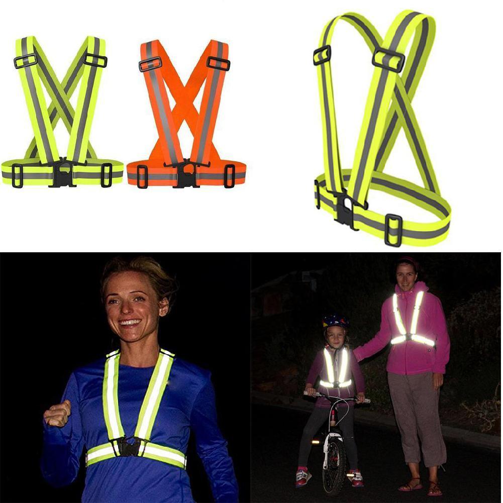 2PCS Night Reflective Vest Three Straps Emergency Safety Vest Reflection Wrist Band Belt On For Sports Running Cycling Universal