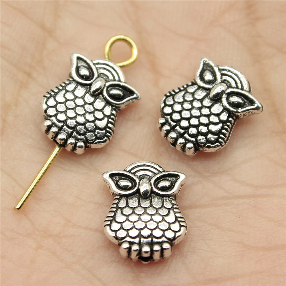 WYSIWYG 25pcs 9*7*3mm Owl Small hole Spacers Beads Pendants Charms Findings Jewellery Making Findings for DIY Craft
