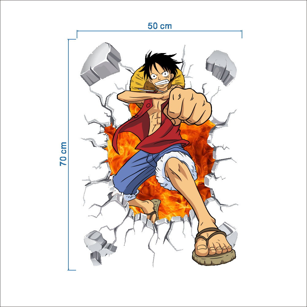 Cartoon one piece luffy decoration stickers luffy three dimensional pvc childrens living room waterproof wallpaper home decor in wall stickers from home