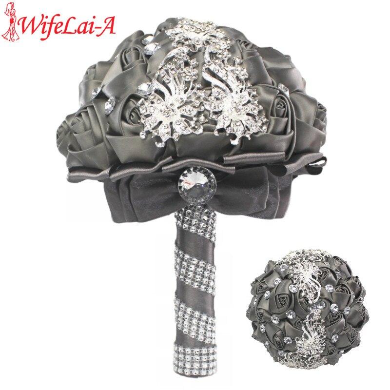 Silver Diamond Bridal Wedding Bouquet Dark Gray Silk Rose Crystal Pearls Bridesmaid Bouquets Forever Love Wedding Flowers W208