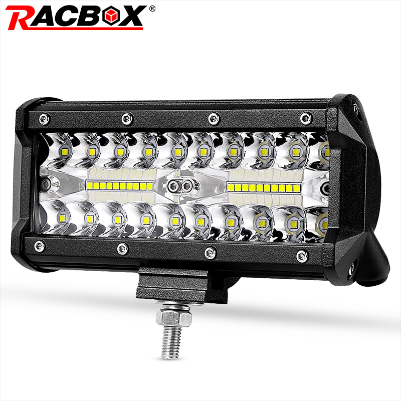 RACBOX 7 inch Triple Row LED Light Bar Flood Spot Combo 120W 12V 24V Car Truck