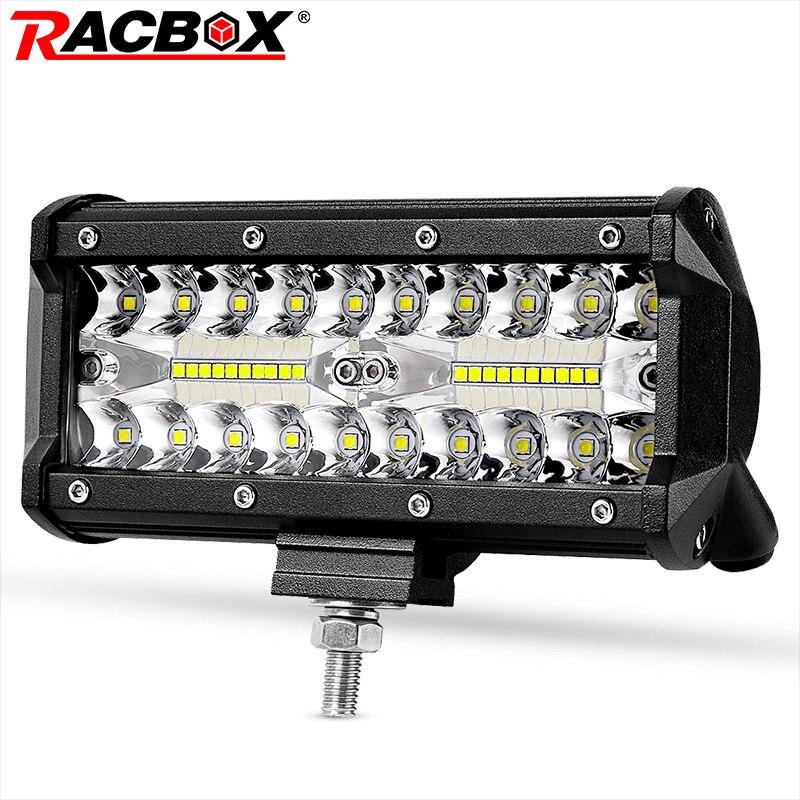 RACBOX 7 pouce Triple Rangée LED Light Bar Flood Spot Combo 120 w 12 v 24 v Voiture Camion 4WD offRoad ATV UTV Bateau 7 LED Conduisant la Lampe de Travail