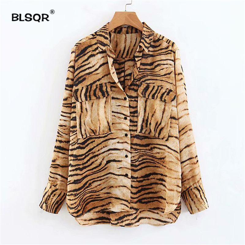 5eaef1f56d Detail Feedback Questions about Women Tiger Skin Print Blouse Animal Pattern  Pockets Long Sleeve Turn Down Collar Shirts Casual Chic Tops Blusas on ...