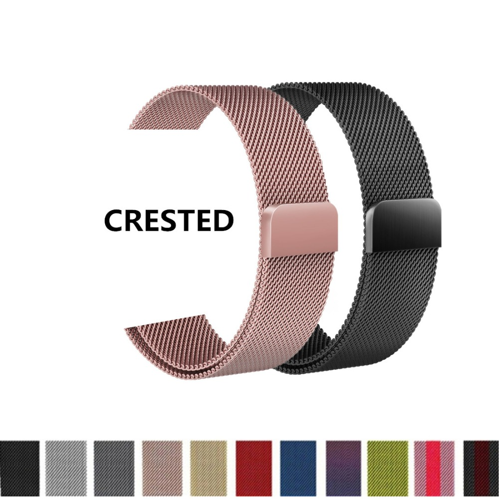 CRESTED Milanese Loop For Apple Watch band 42mm 38mm strap correa iwatch series 3 2 1 Stainless Steel wrist Link Bracelet belt awei a920bls bluetooth earphone wireless headphone sport headset with magnet auriculares cordless headphones casque 10h music