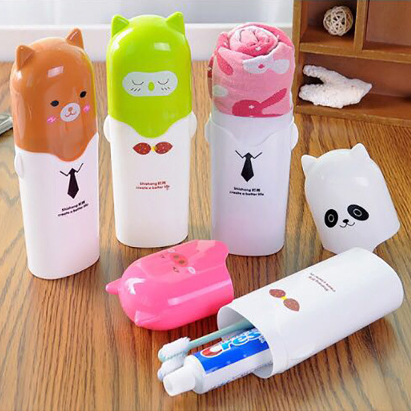 Portable Cute Cartoon Animals Toothpaste Toothbrush Box Children Outdoor Travel Hiking Camping Towel Toothbrush Storage Case