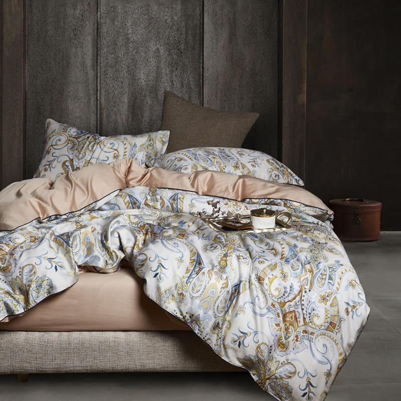 Bedding-Set Duvet-Cover Fitted-Sheet Flamingo-Leaf Queen Parure-De-Lit Egyptian Cotton