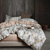 29 colores de lujo de algodón egipcio juego de cama Queen King size 3d Flamingo Leaf edredón cubierta cama hoja Set sábana ajustada parure de lit