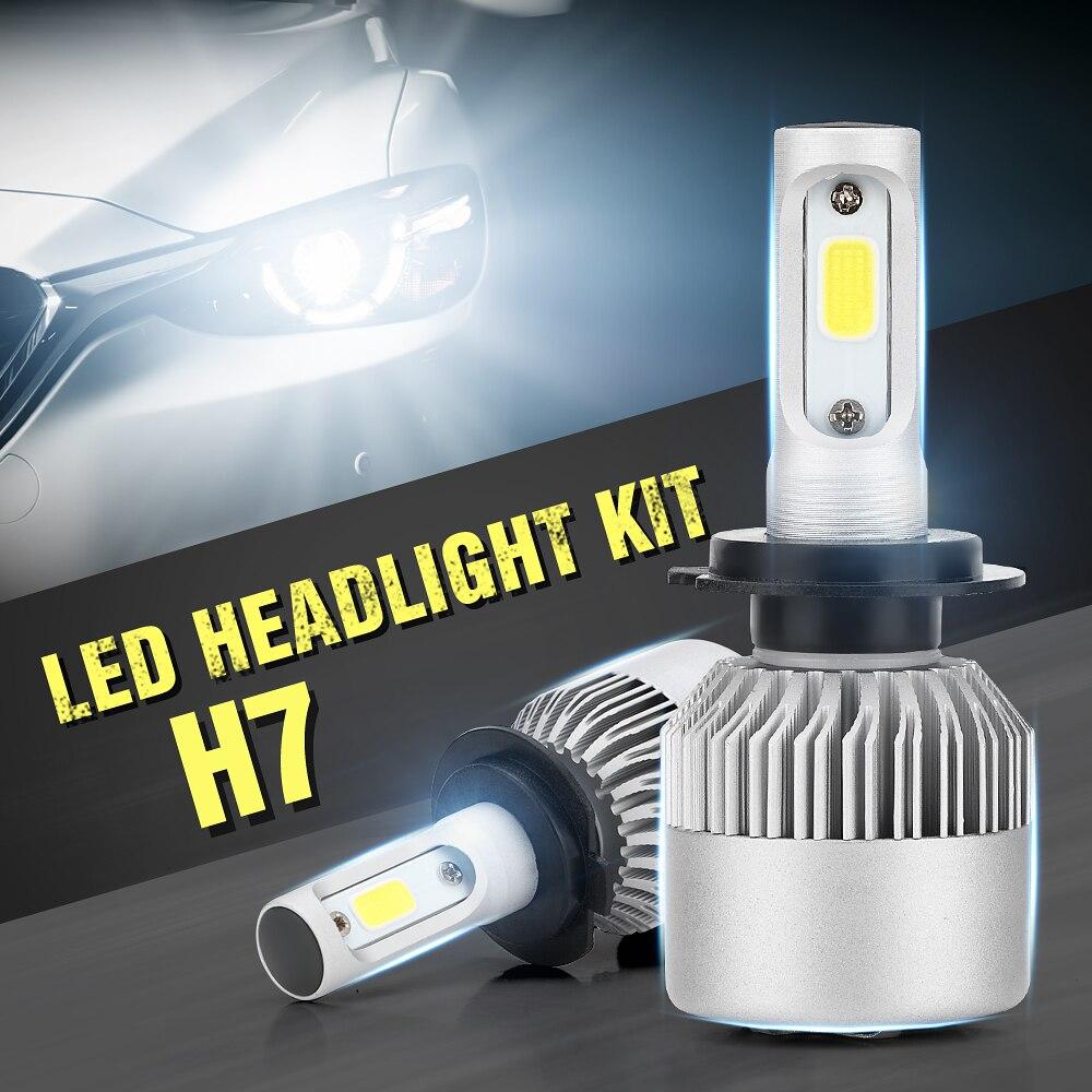 2x H7 LED COB DC 9-32V Headlight Kit 6000K White Car Bulbs Lamps Light 200W 20000LM Anti-dust Single Beam Super Bright