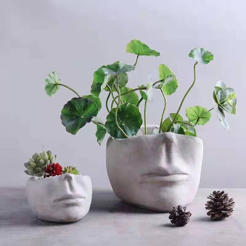 Succulent Plant Flower Pot Silicone Mold Face Sculpture Shaped DIY Gypsum Concrete Pot Mould