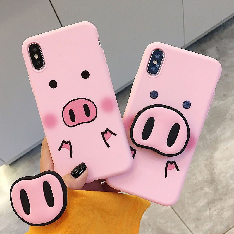 buy online 1afe4 fd3ff US $1.99 |Funny Cartoon Pig Phone Case For iphone X XS Max XR Case For  iphone 7 6s 8 8 plus Cover Cute Nose Soft Back Cases Animal Capa-in Fitted  ...