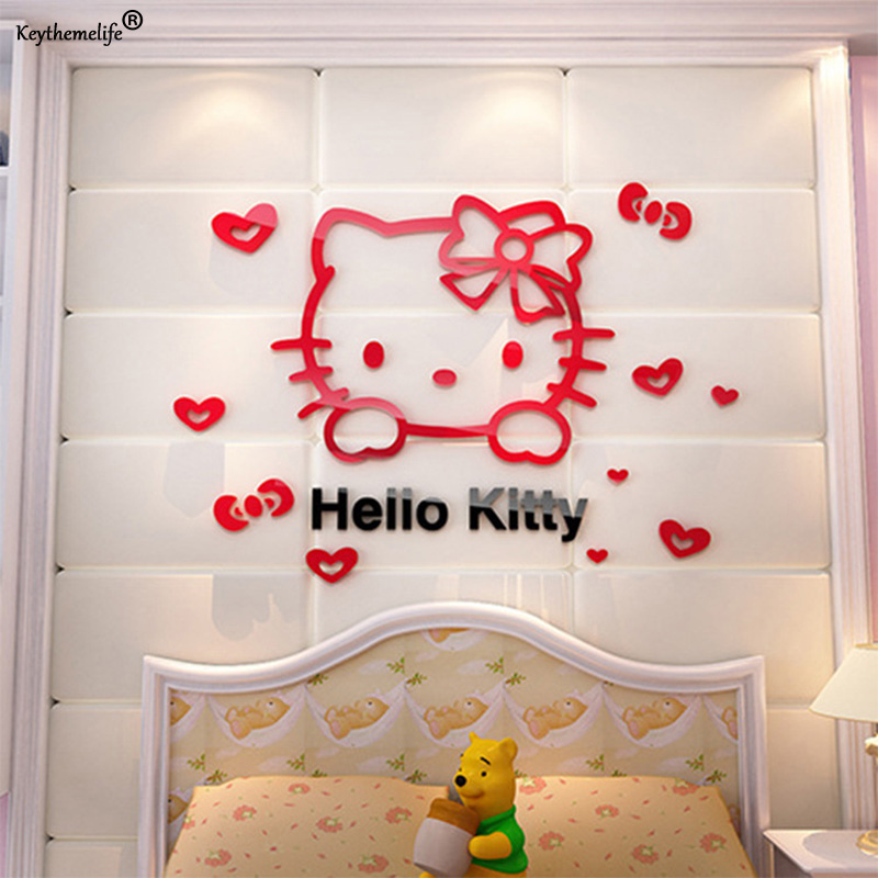 Hello Kitty Home Decor: Hello Kitty DIY Wall Stickers For Kids Rooms Bedrooms 3D
