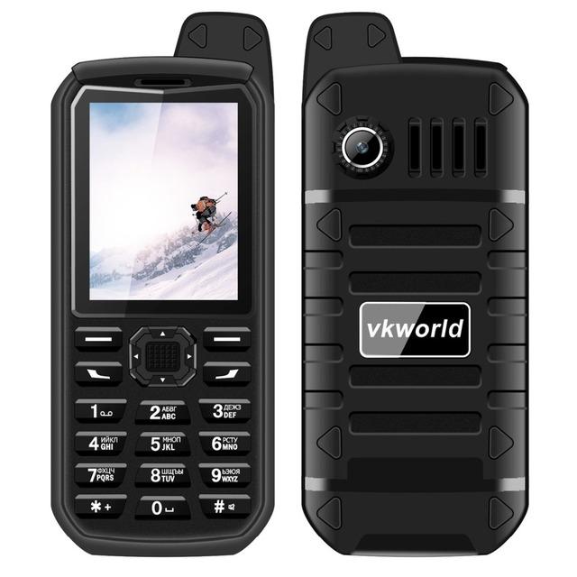 Vkworld piedra mtk6261 v3 plus 4000 mah espera largo teléfono móvil ram 32 MB ROM 32 MB 2.4 pulgadas Dual SIM Bluetooth con FM Radio, Antorcha