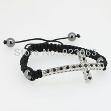 Sale 10pcs Fashion Clear Jet Crystal White Gold Color Curved Sideway Cross Connector Bead Adjustable Black Macrame Rope Bracelet